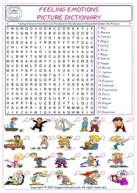 feelings emotions esl printable english vocabulary worksheets