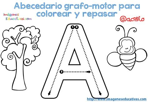 abecedario grafo motor para colorear y repasar 1