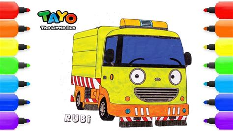 tayo   bus coloring pages rubby  garbage
