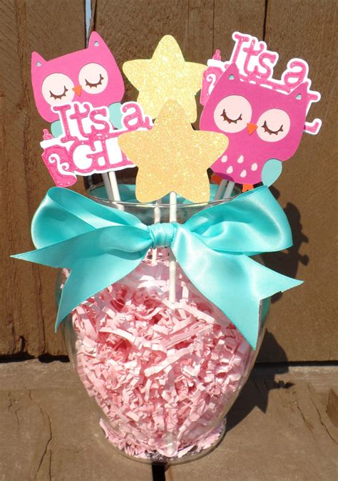 teal  pink owl centerpiece owl baby shower decorations
