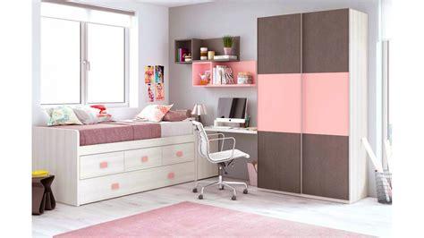 lit gigogne avec bureau chambre fille avec une armoire coulissante glicerio