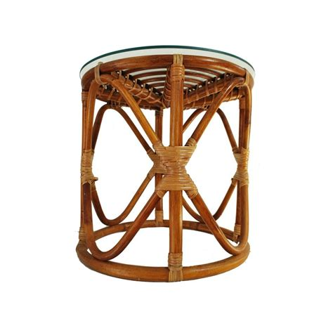 vintage bamboo side table vintage rattan table bohemian wicker glass top table