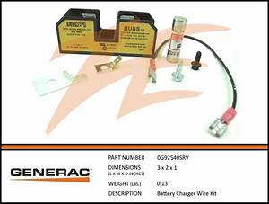 Generac 0g92540srv Battery Charger Wiring Kit  U2013 Ziller