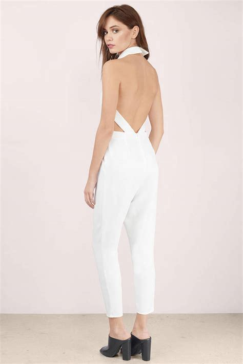 Whites On by White Jumpsuit Open Back Jumpsuit Backless Jumpsuit