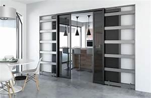 Porte coulissante elegance et gain de place for Porte de garage coulissante et porte intérieure 3 panneaux