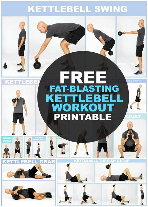 kettlebell workout exercises printable weight body loss routine beginners workouts chart fitness routines kettlebells fat arm exercise yurielkaim plan muscle