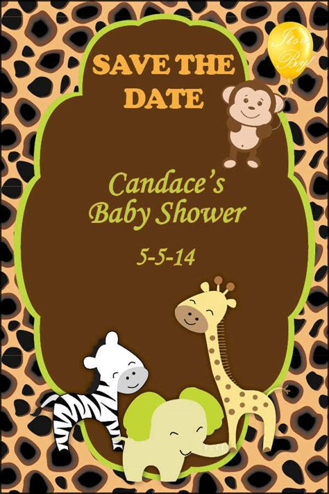 save  date cards baby shower jungle monkey invitations
