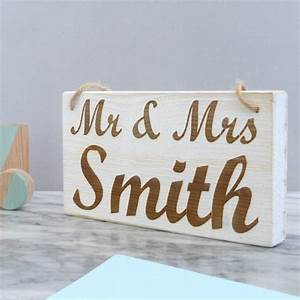 Personalised mr and mrs hanging wooden sign by for Personalised mr and mrs letters