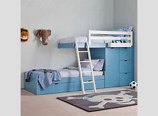 Kids 3 Tier Train Bed With Wardrobe Storage Asoral