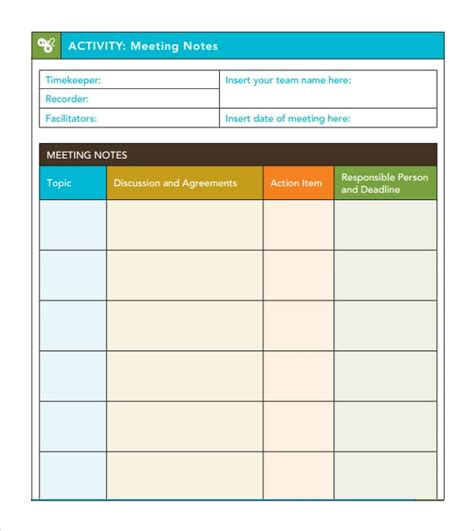 meeting notes template 7 free meeting minutes templates excel pdf formats
