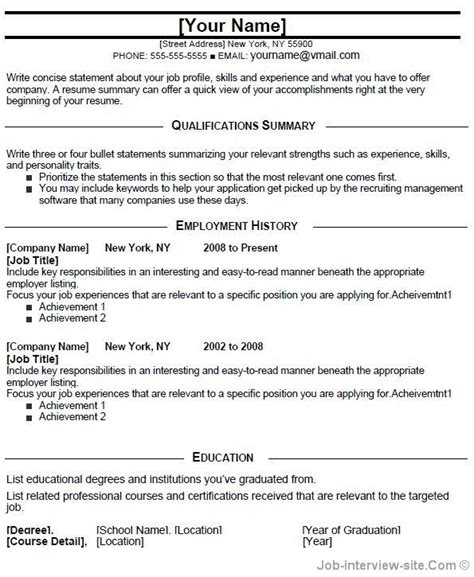 entry level resume template for high school students