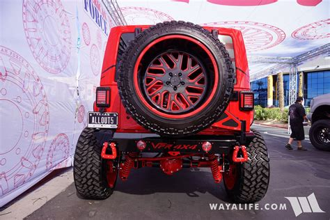 2017 SEMA American Force Wheels / AllOut OffRoad Red Jeep ...