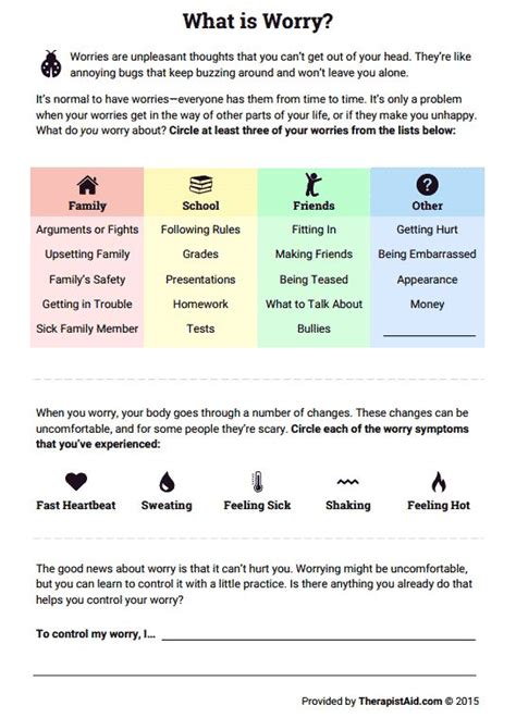 stress management what is worry worksheet therapist aid jobloving com your number one