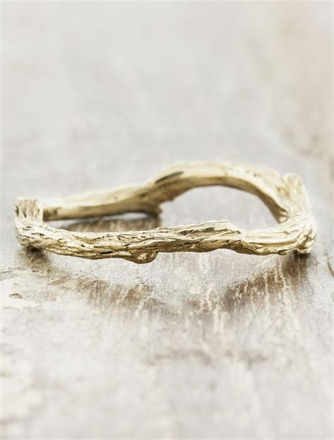 vine natural tree bark textured wedding ring ken design
