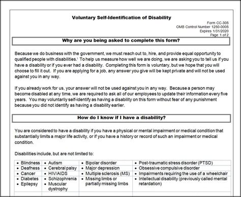 forms of disability disability self identification form approved