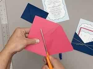 Free pin stripe wedding invitation template and diy pocket for Making pocket wedding invitations