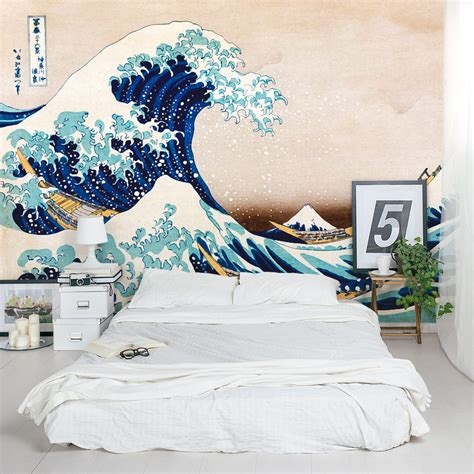 great wave wall mural