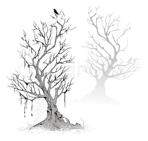 artistic painted dead dried tree stock vector