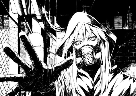Anime Drawing Wallpaper - horror apocalypse city view monochrome gesture mask
