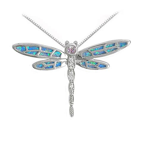 opal dragonfly necklace slider