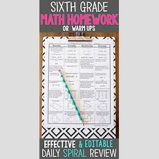 6th Grade Math Spiral Review  Homework, Warm Ups, Daily Math Review  Pacing Guide, Homework