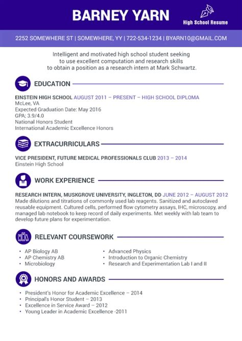 you can write your high school internship resume by