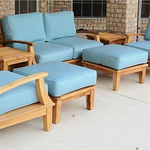 winsome teak wood patio chair with ottoman showcasing With custom patio furniture covers sunbrella
