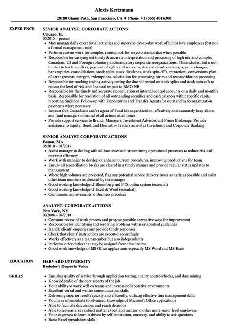 Corporate Resume Builder by Analyst Corporate Actions Resume Sles Velvet