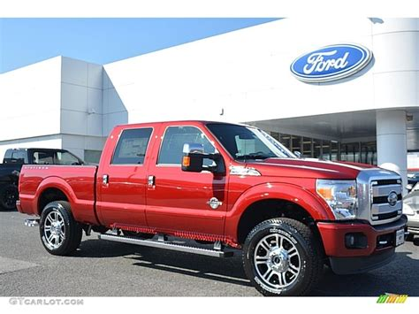 ruby red metallic ford  super duty platinum crew