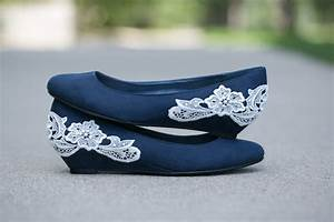 Navy blue ballet flat/low wedge wedding shoes with ivory lace