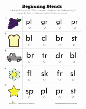 beginning consonant blends worksheet education