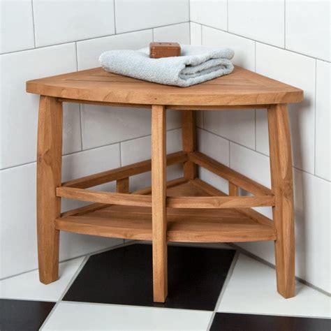 "59"" Teak Corner Bathroom Shelf Bathroom"