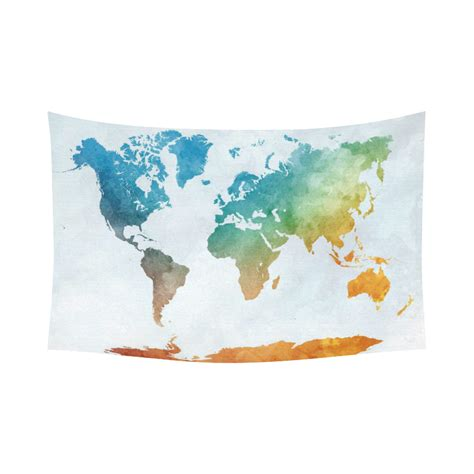 colorful wall decor interestprint colorful watercolor world map tapestry wall
