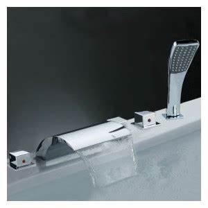 Robinet Cascade Baignoire : robinet de baignoire cascade avec douche main chrome ~ Nature-et-papiers.com Idées de Décoration