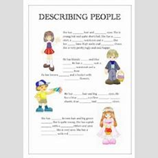 English Worksheets Describing People With Pictures
