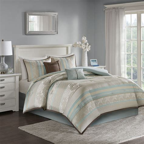 teal comforter set beautiful modern light teal aqua blue brown stripe