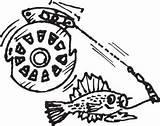 Reel Fishing Drawing Getdrawings sketch template