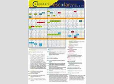 Calendario escolar Centros Consejería de Educación y