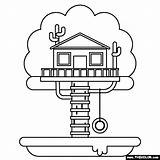 Treehouse Coloring sketch template
