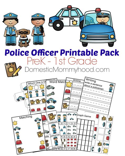 community helpers week theme pre k printable 229   Police Officer Printable Cover DomesticMommyhood.com