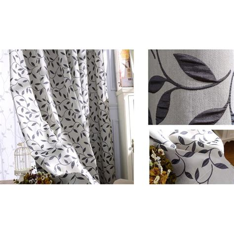 Note Bedroom Curtains by Gray And Black Botanical Jacquard Polyester Country