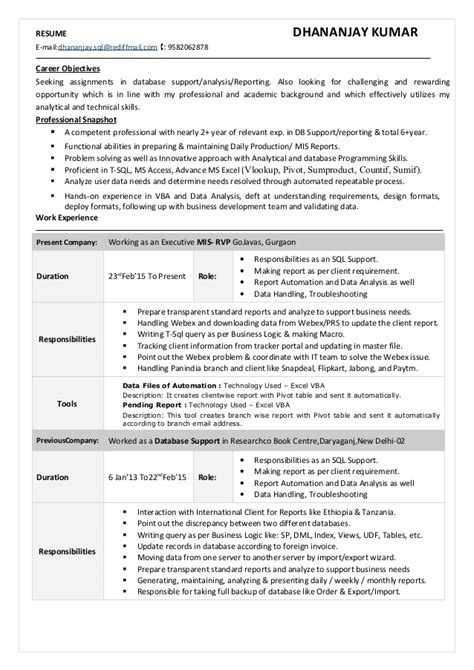 Resume Bio Exle by Excel With Vba Sql Cv Doc 2 5 Yr Exp Dkumar
