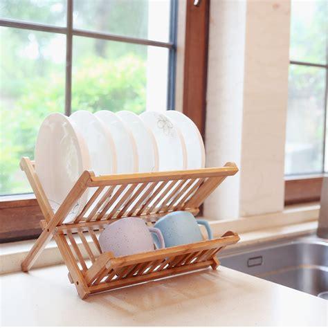 folding dish rack  levels wood dish drying rack plates drainer natural bamboo ebay