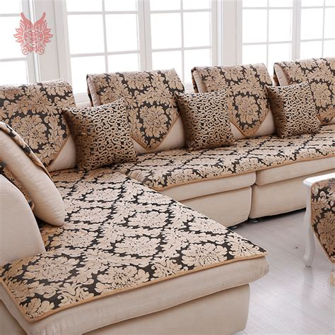 cover para sofa europe black gold floral jacquard terry cloth sofa cover