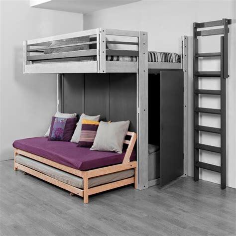 mezzanine canapé photo lit mezzanine 2 places avec canape lit idées