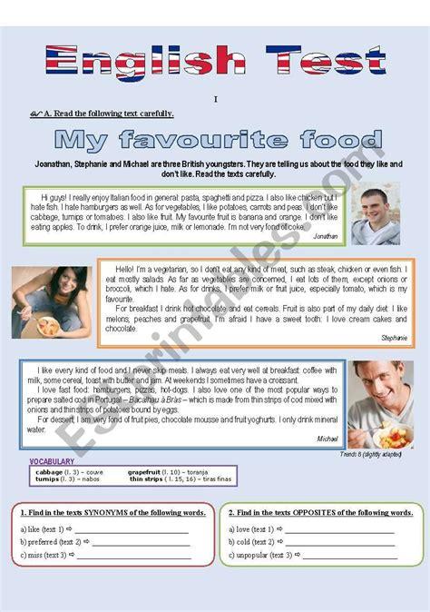 favourite food reading comprehension esl worksheet