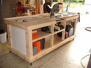 Workbench with inset areas for miter / table saw DIY