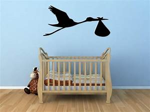 Stork carrying the baby - Lovely Baby Room / Nursery Wall