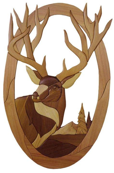 intarsia woodworking pattern deer head