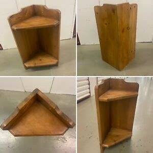 small vintage antique pine wall corner display shelf  tier rustic country ebay